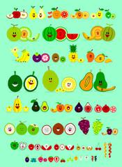 Cute Smile Cartoon of Various Fruits