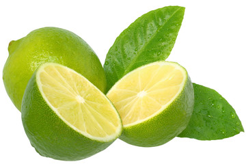 Fresh cut lime with leaf