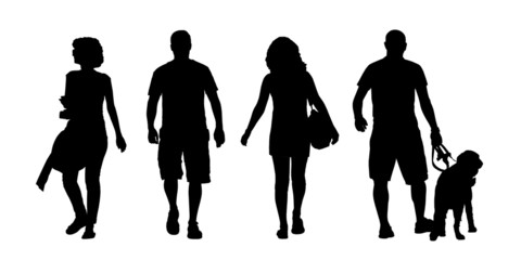 young men and women walking outdoor silhouettes set