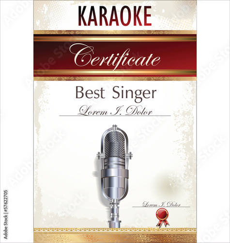 u0026quot karaoke certificate template u0026quot  stock image and royalty