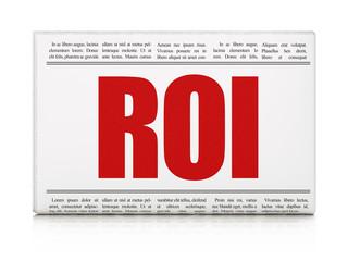 Finance news concept: newspaper headline ROI