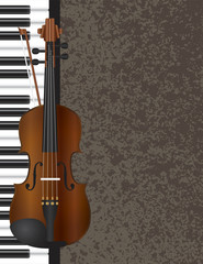 Piano and Violin Bow with Background Illustration