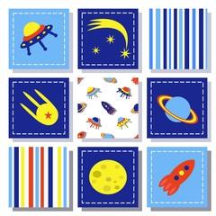 set of child cosmos decor elements, vector illustration