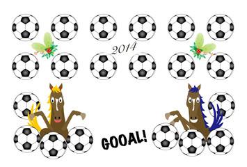 サッカーボールと馬のイラスト年賀状