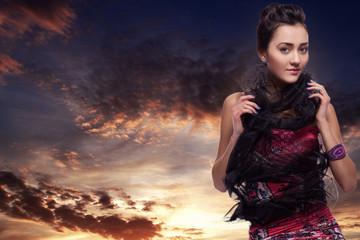 Beauty Female Brunette Posing in Fashion Sun Asian Dress