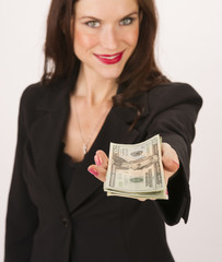 Business Woman Hands You Cash Payment Twenty Dollar Bills