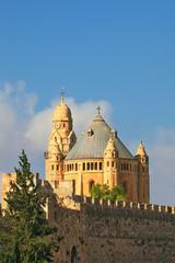 The morning sun illuminates the dome