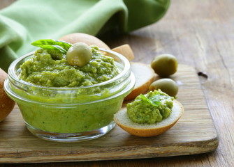 snack tapenade of green olives and basil