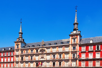 Picturesque houses at Plaza Mayor.  Madrid