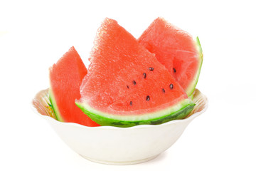 Pieces of sliced ??watermelon on the plate
