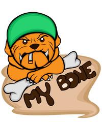 Bulldog and bone