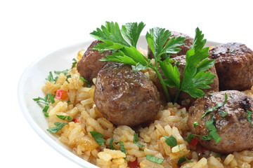 Fried pork meatballs with rice