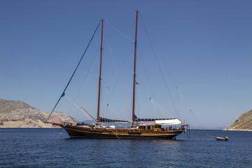 Old sailing boat in Lindos village, Rhodes