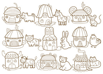 animals and their houses (coloring book)