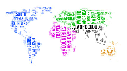 world map text cloud
