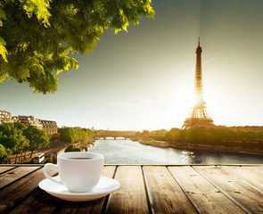 Recess Fitting Paris coffee on table and Eiffel tower in Paris