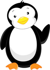 cute penguin waving cartoon
