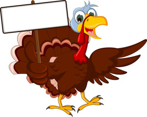 Funny Turkey Cartoon Posing with blank sign
