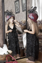 Foto op Aluminium Imagination Lovely little girl making makeup