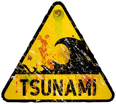 tsunami warning sign, heavy weathered, vector eps 10