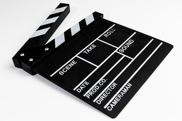Clapperboard view on white background