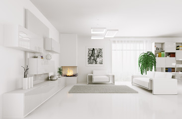 White living room interior 3d