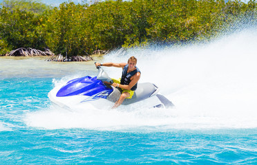Fototapeten Motorisierter Wassersport Man on Jet Ski