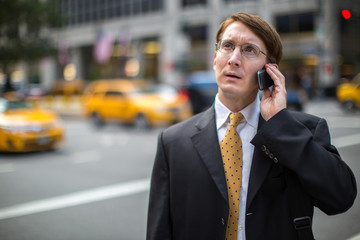 Caucasian businessman in New York City working
