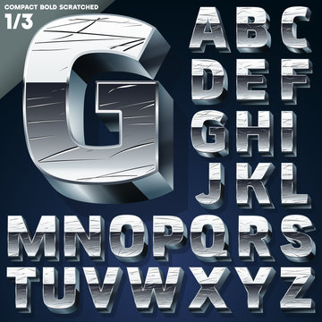 Silver chrome or aluminum 3D alphabet.  Slab style. Set