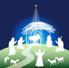 Christmas nativity scene silhouette and shepherds(color)