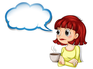 A woman having her cup of coffee with an empty cloud template