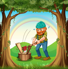 A man chopping the woods near the trees