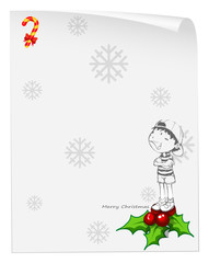 A christmas card template with a young boy above the poinsettia