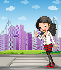 A lady with a black stockings standing at the pedestrian lane