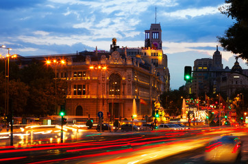 Plaza de Cibeles in  dusk. Madrid