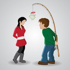 Boy trying to convice a girl kissing him under a mistletoe