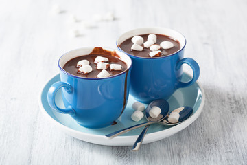 Poster Chocolate hot chocolate with small marshmallows