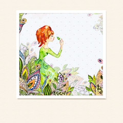 Printed roller blinds Floral woman Girl in flowers watercolor