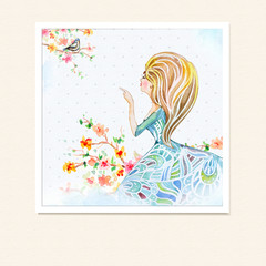 Girl in flowers watercolor