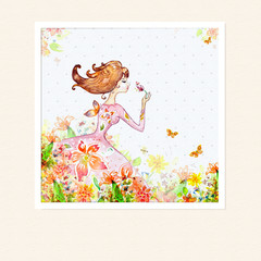 Recess Fitting Floral woman Card girl in flowers watercolor