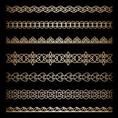 Gold borders set on black
