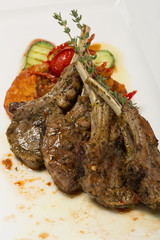 Grilled lamb loin and vegetable ratatouille.