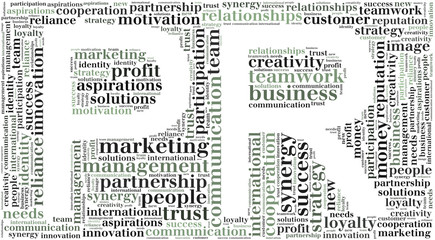 Tag or word cloud public relations related in shape of PR
