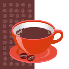 Red cup of coffe with cofe beans, vector illustration