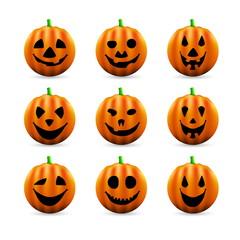 Set of Scary Halloween Pumpkins - vector illustration