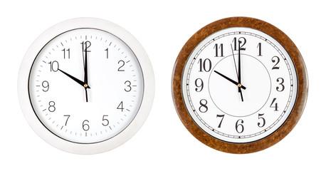 Two clock faces showing ten o'clock