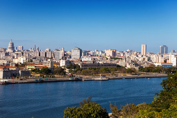 Havana.View of old city through bay from Morro's fortress. .