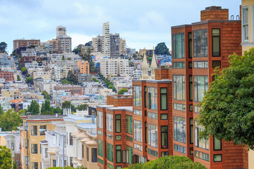 Photo sur Aluminium San Francisco Typical San Francisco Neighborhood, California