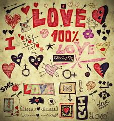Love doodle retro set, design elements