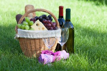 Aluminium Prints Picnic Outdoor picnic basket with wine on lawn
